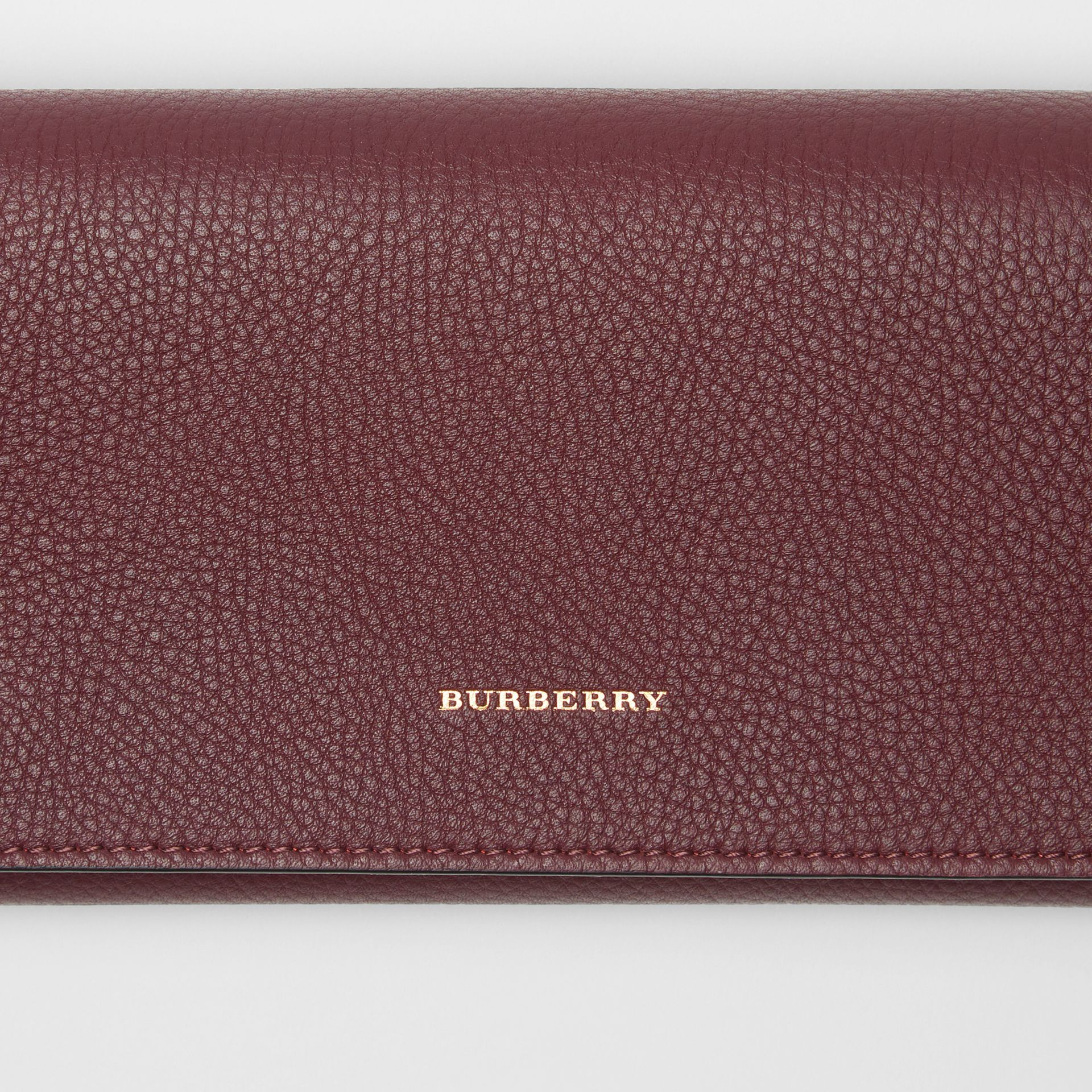 Two-tone Leather Continental Wallet in Deep Claret - Women | Burberry United Kingdom - gallery image 1