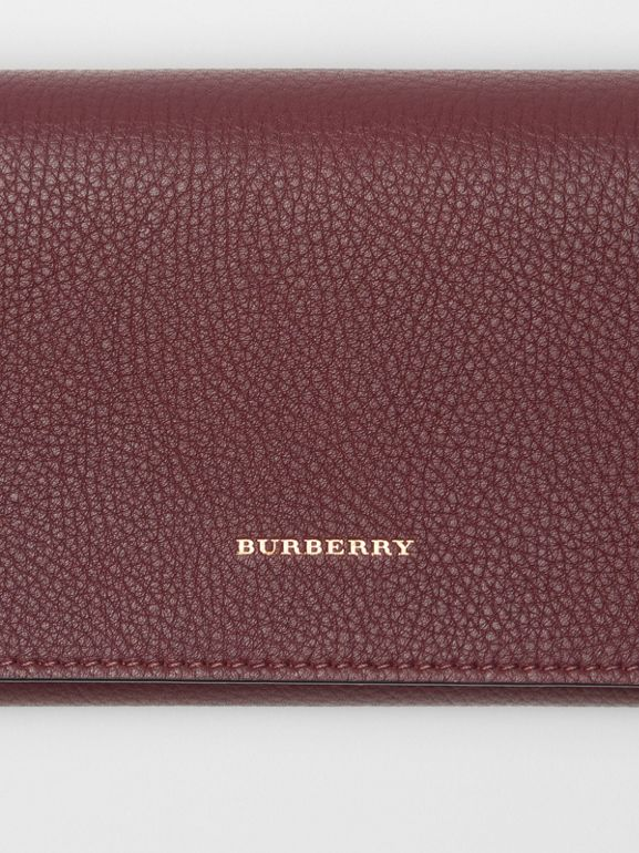 Two-tone Leather Continental Wallet in Deep Claret - Women | Burberry - cell image 1