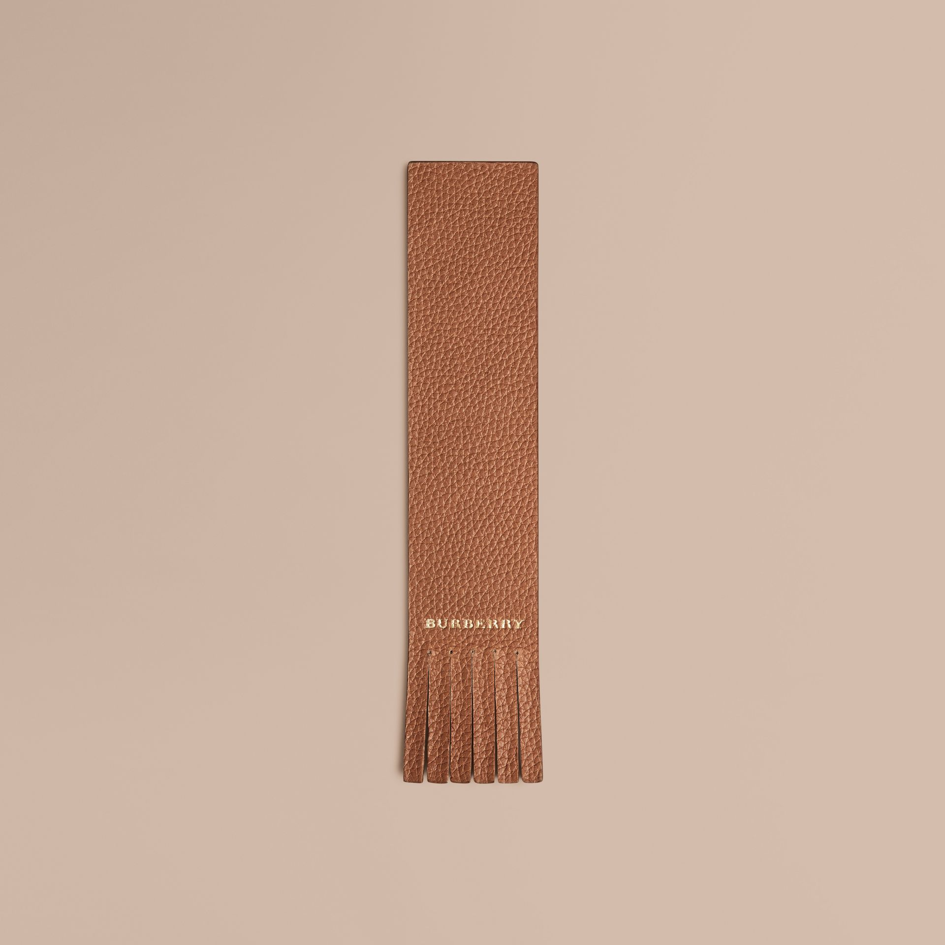 Grainy Leather Bookmark in Tan | Burberry - gallery image 1