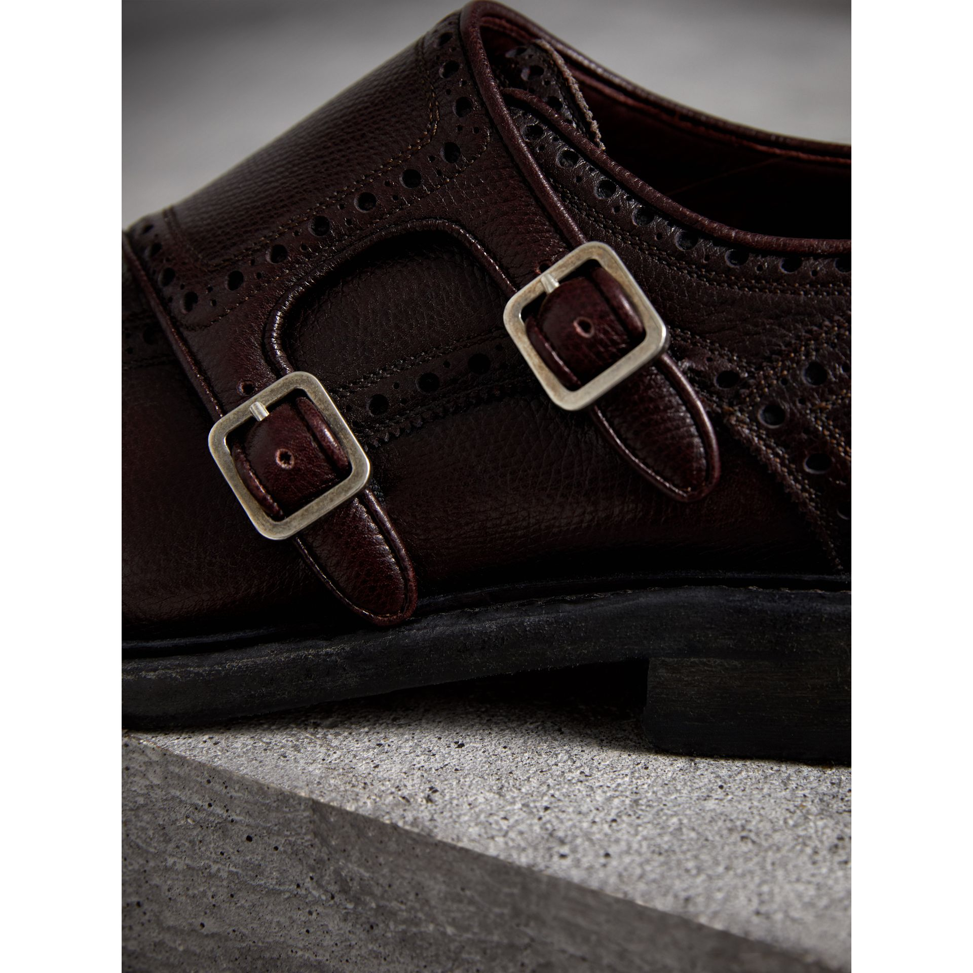 Brogue Detail Textured Leather Monk Shoes in Burgundy Red - Men | Burberry - gallery image 2