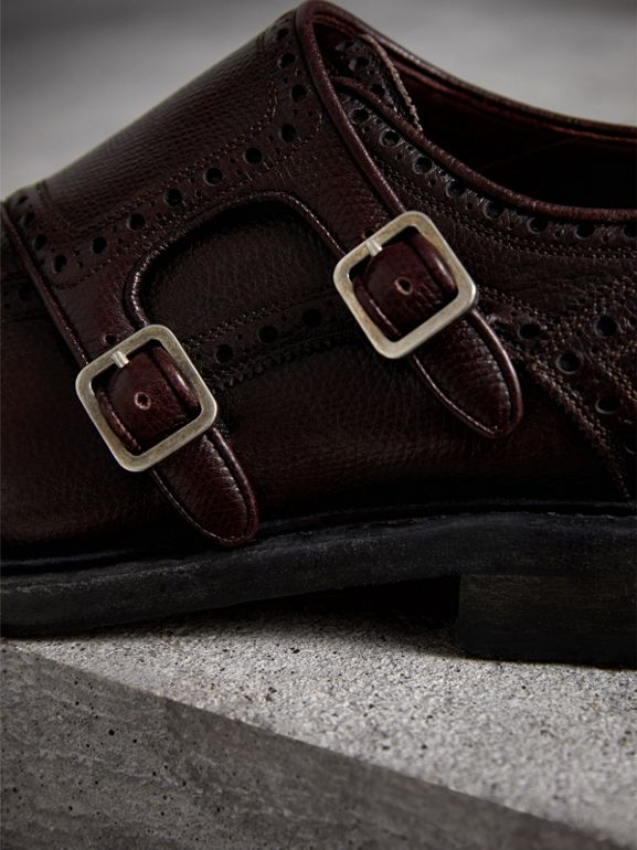 Brogue Detail Textured Leather Monk Shoes in Burgundy Red - Men | Burberry Hong Kong - cell image 1