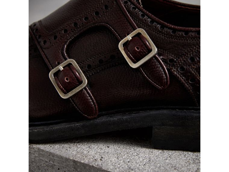 Brogue Detail Textured Leather Monk Shoes in Burgundy Red - Men | Burberry - cell image 1
