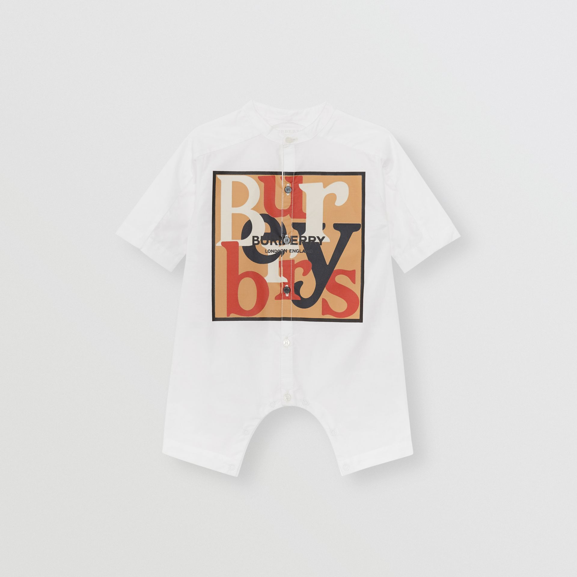Logo and Archive Scarf Print Cotton Jumpsuit in Beige - Children | Burberry United Kingdom - gallery image 0