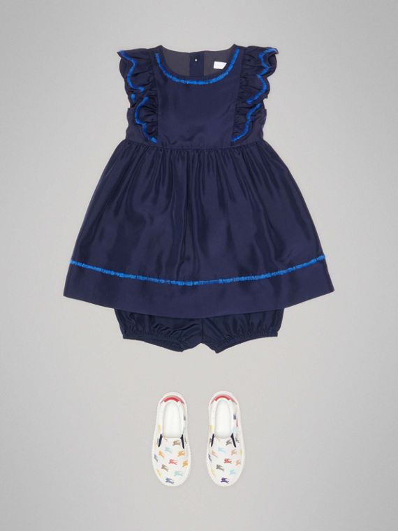 Ruffle Detail Embroidered Silk Dress with Bloomers in Navy