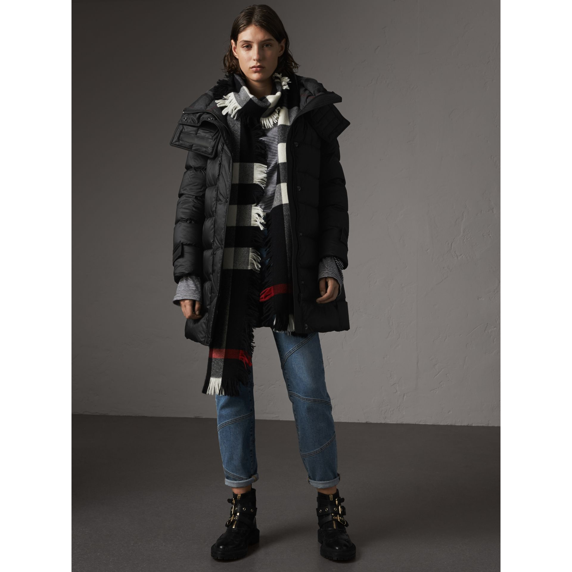 Detachable Hooded Down-filled Puffer Coat in Black - Women | Burberry United States - gallery image 5