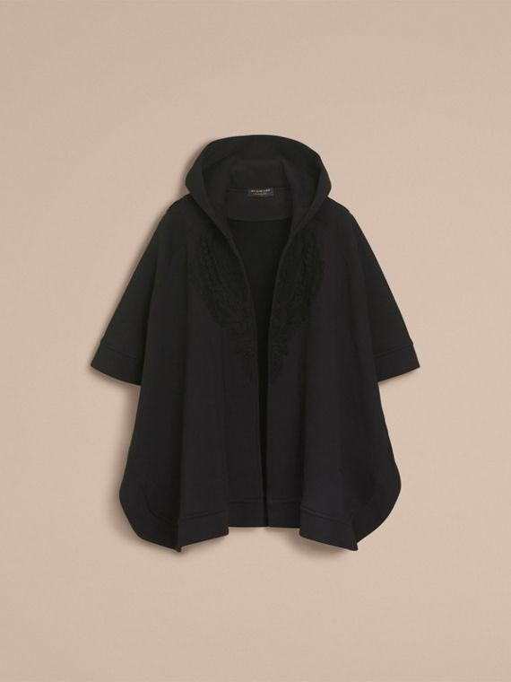 Lace Appliqué Jersey Hooded Poncho - Women | Burberry - cell image 3