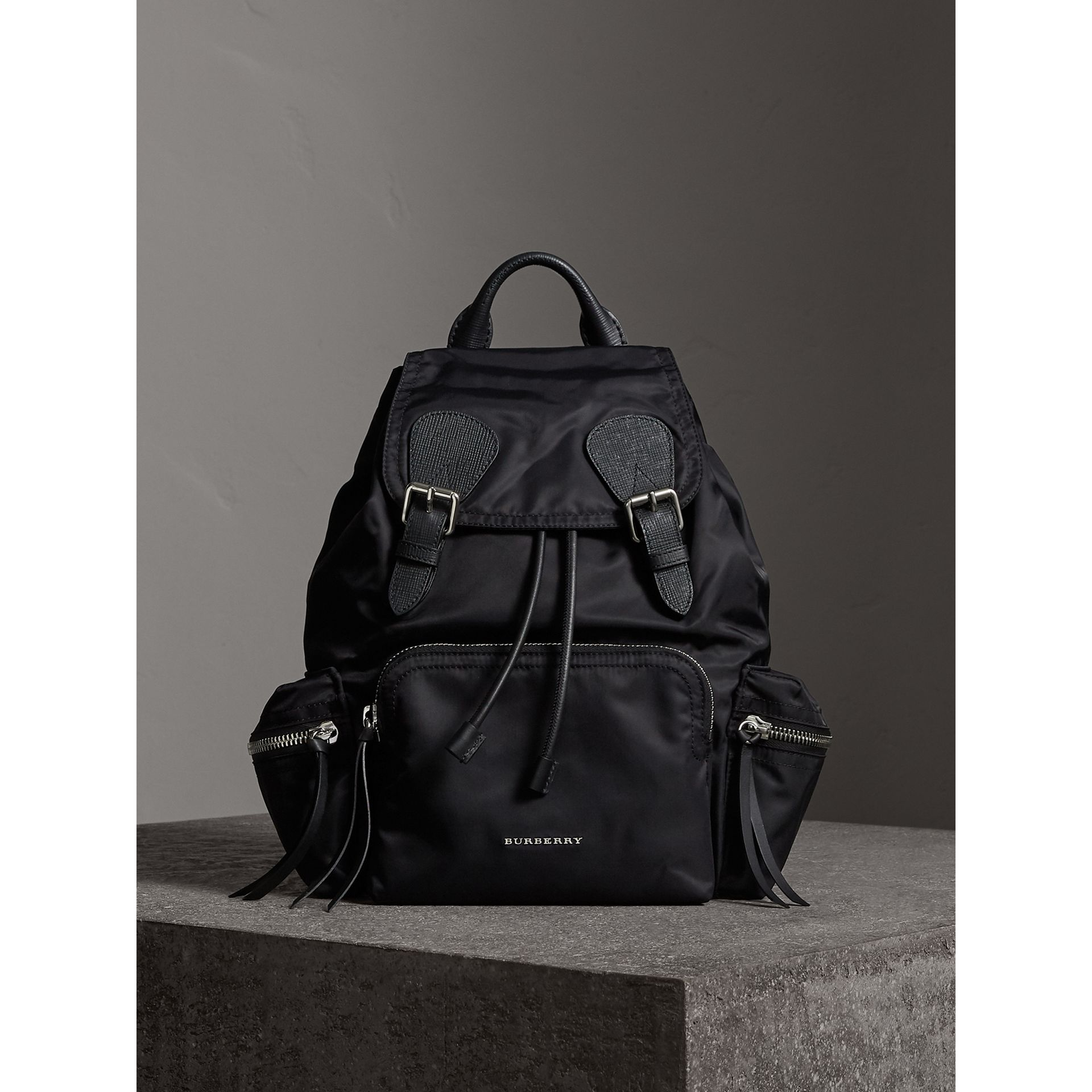 The Medium Rucksack in Nylon and Leather in Black/black - Women | Burberry - gallery image 7