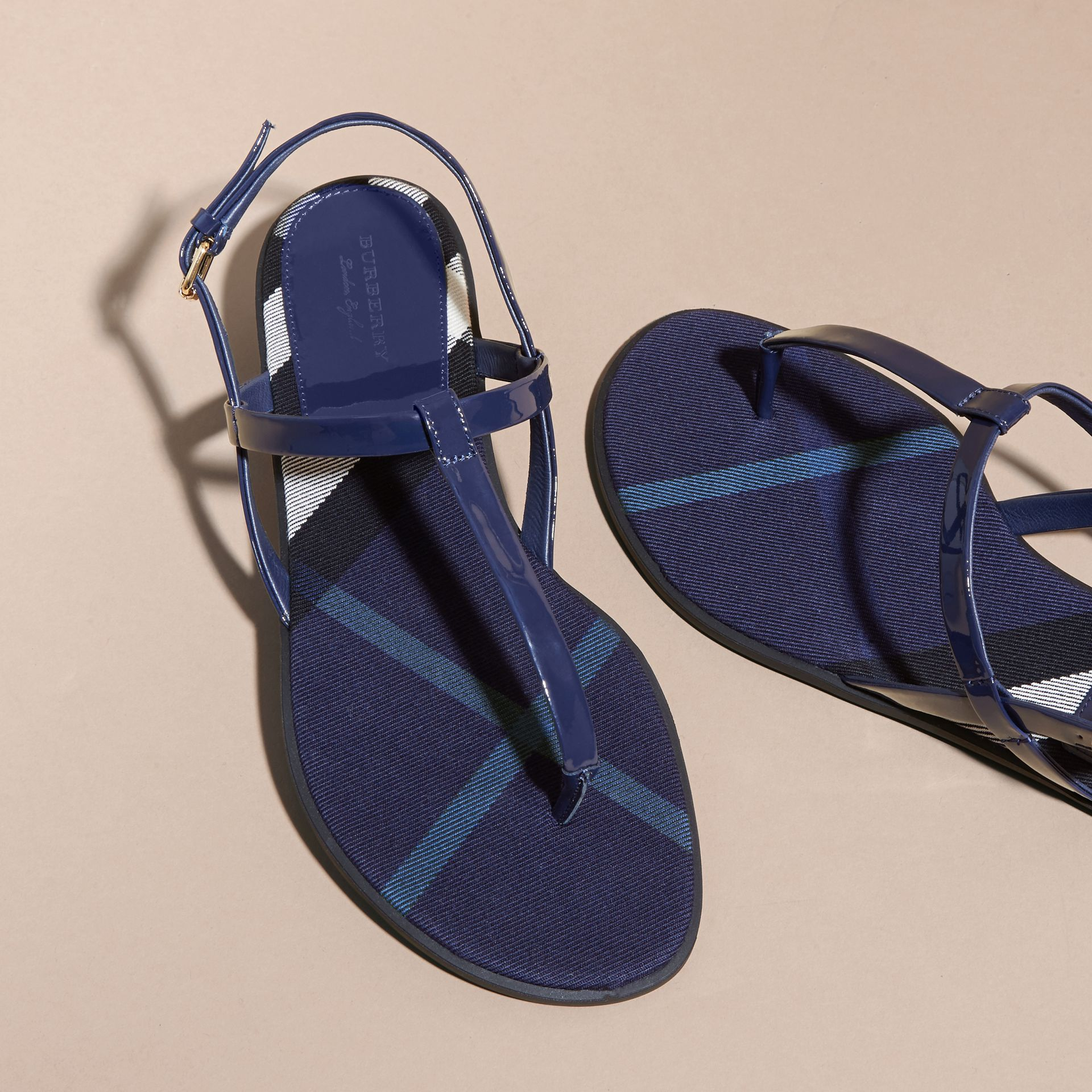 House Check-lined Leather Sandals in Indigo Blue - gallery image 4