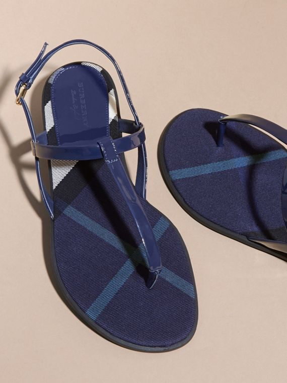 House Check-lined Leather Sandals in Indigo Blue - cell image 3