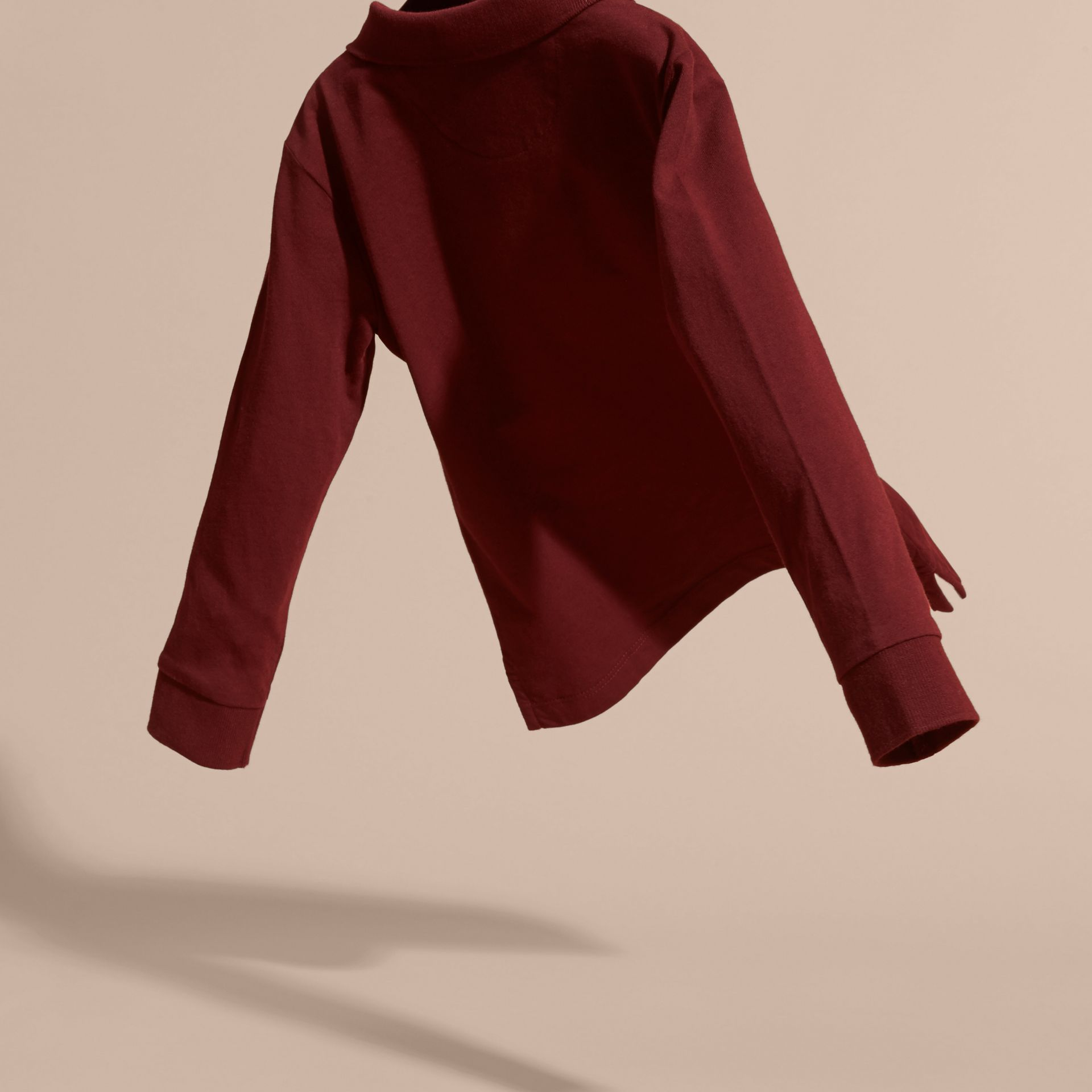 Burgundy red Long-sleeved Cotton Polo Shirt Burgundy Red - gallery image 4