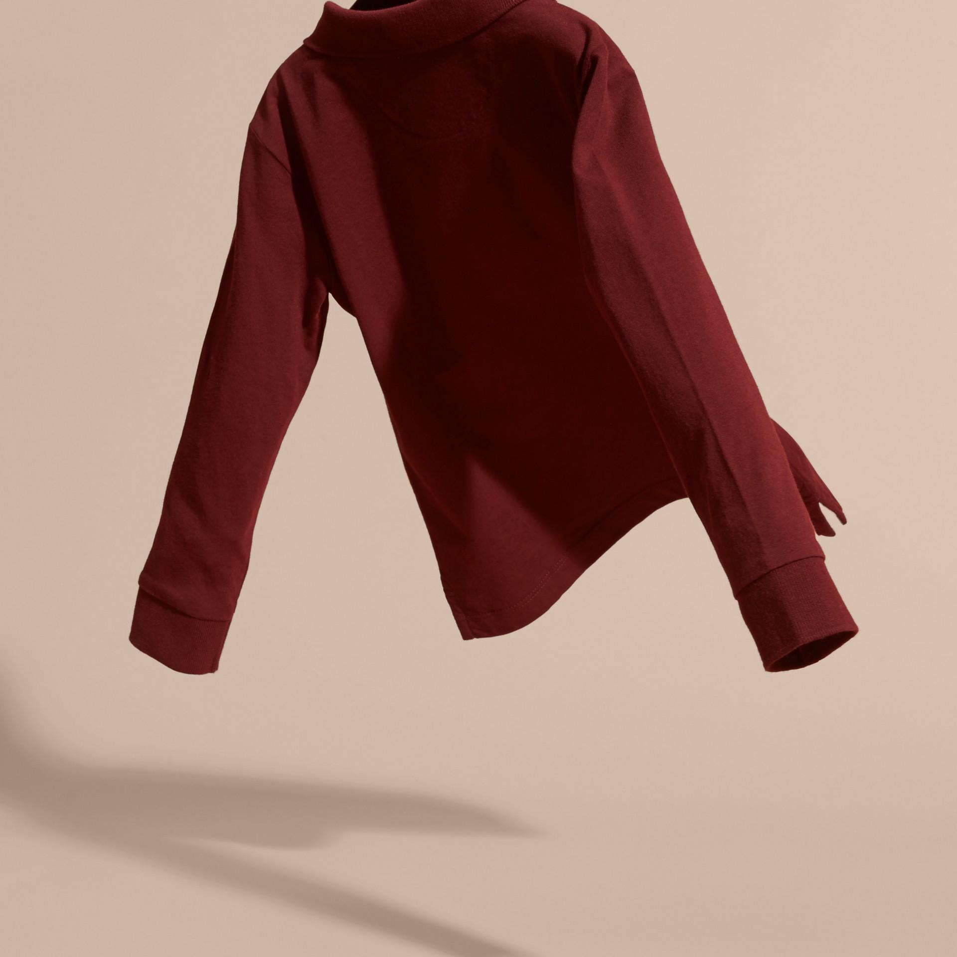 Rosso borgogna Polo in cotone a maniche lunghe Rosso Borgogna - immagine della galleria 4