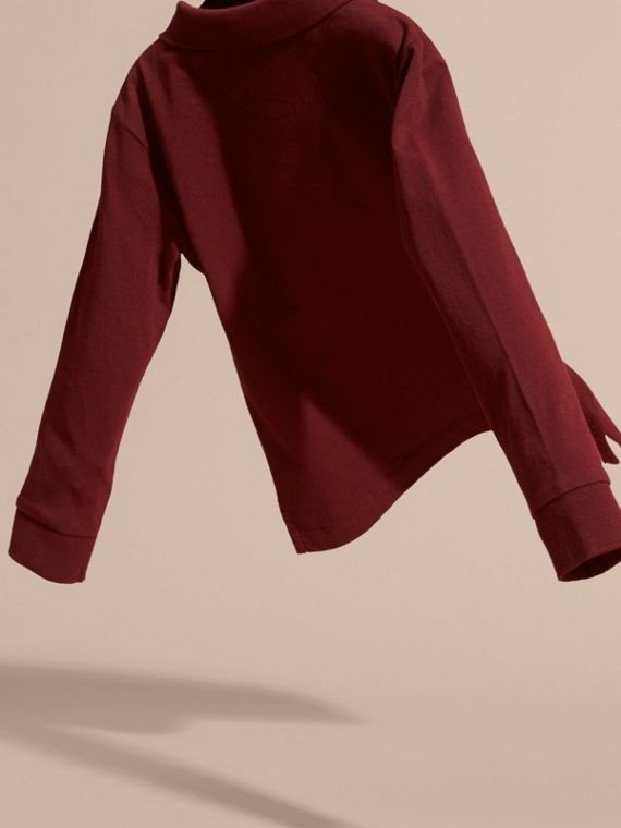 Burgundy red Long-sleeved Cotton Polo Shirt Burgundy Red - cell image 3