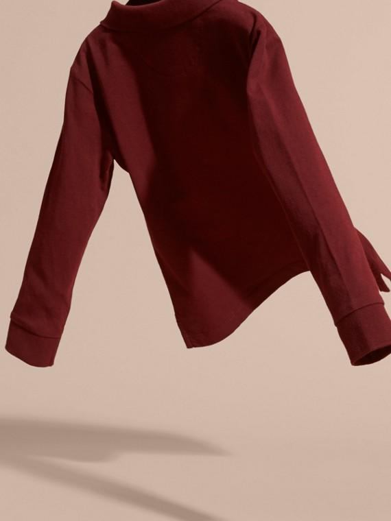 Rosso borgogna Polo in cotone a maniche lunghe Rosso Borgogna - cell image 3