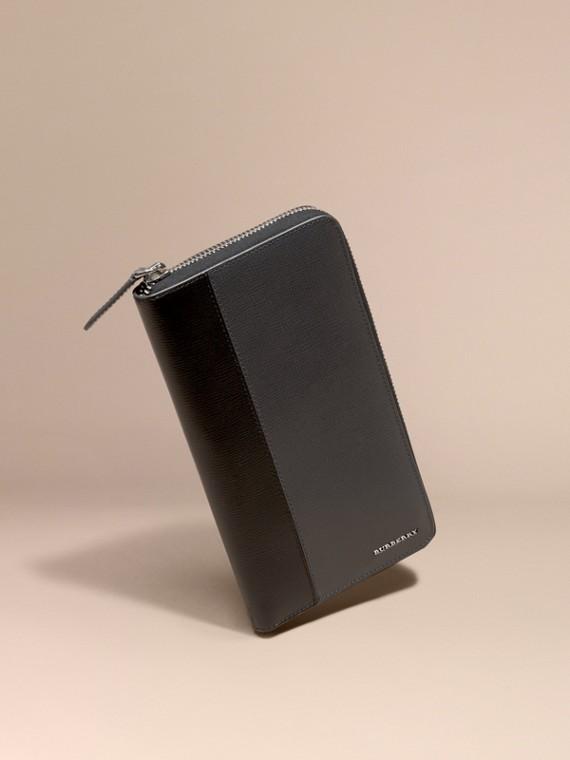 Colour Block London Leather Ziparound Wallet Charcoal/black
