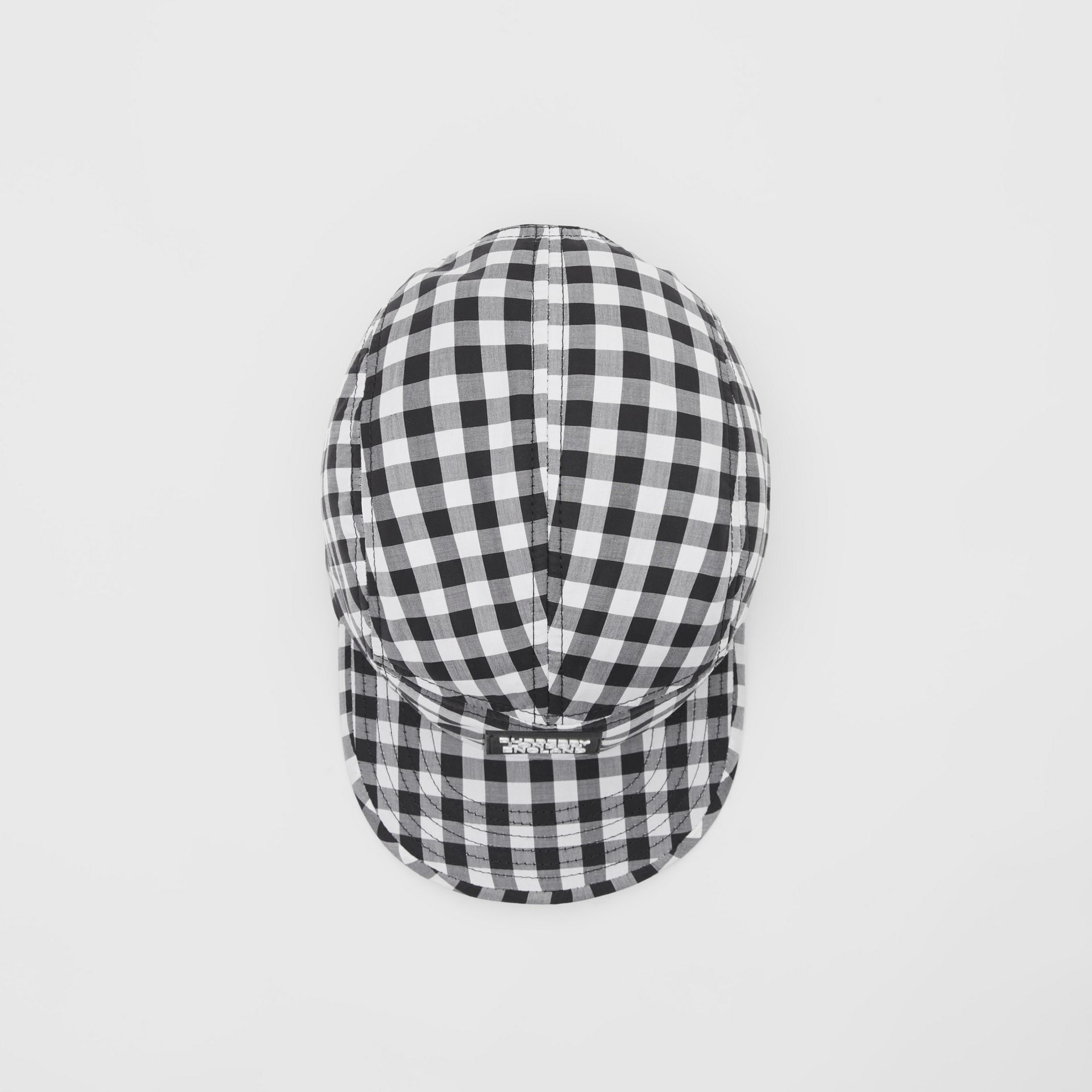 Logo Appliqué Gingham Cotton Cap in Black/white   Burberry United States - gallery image 4