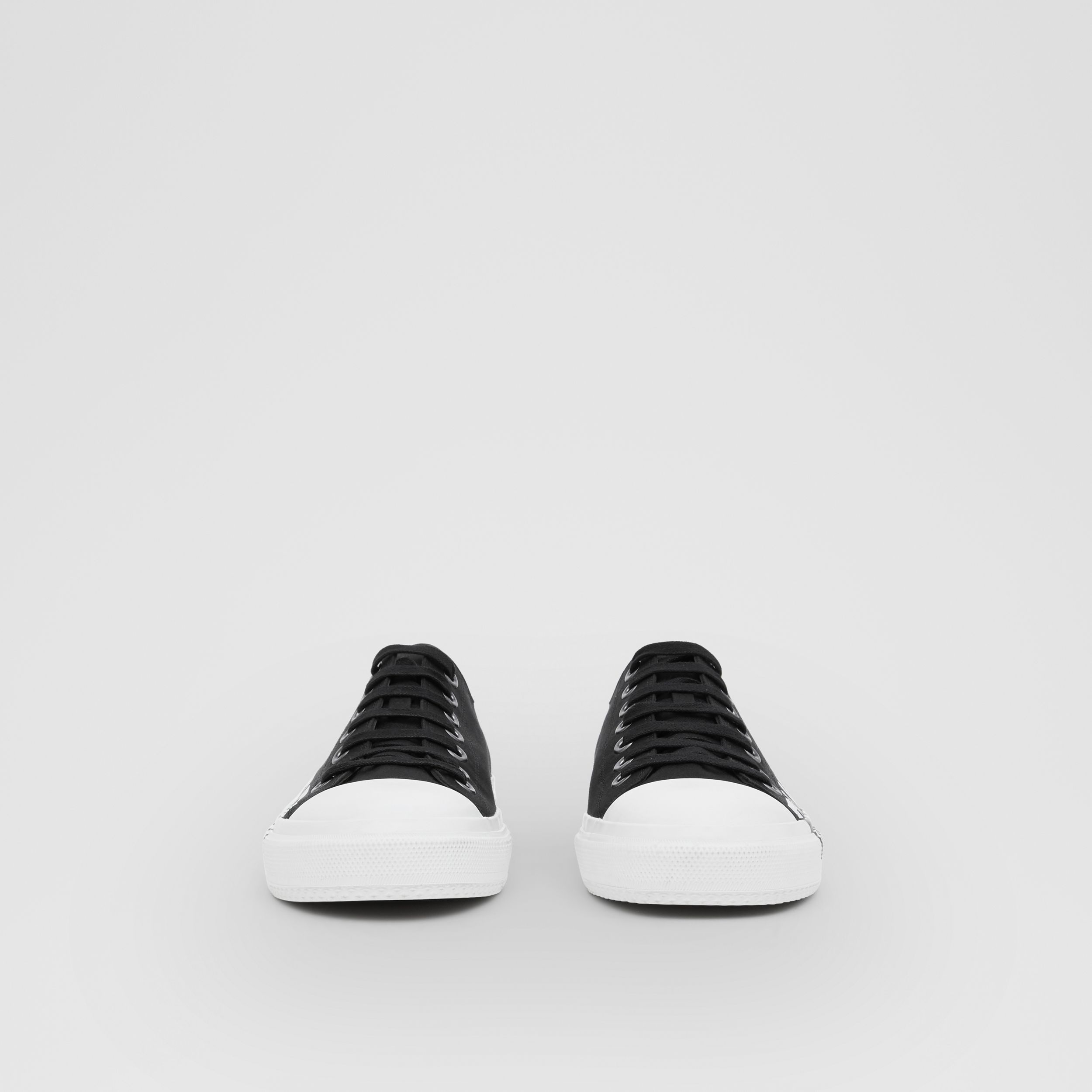 Logo Print Two-tone Cotton Gabardine Sneakers in Black/optic White | Burberry - 3