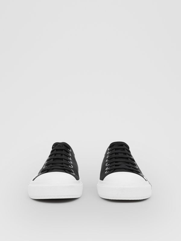 Logo Print Two-tone Cotton Gabardine Sneakers in Black/optic White - Men | Burberry United Kingdom - cell image 2