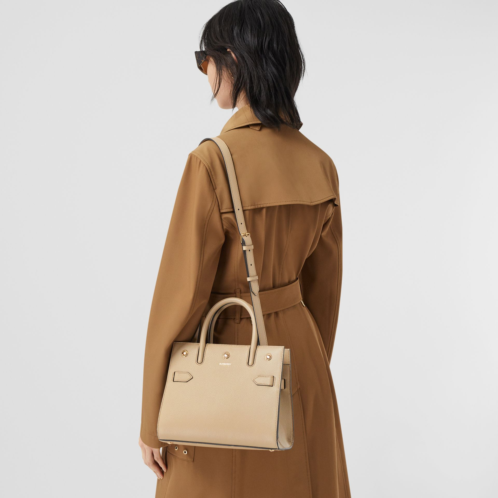 Mini Leather Two-handle Title Bag in Light Beige - Women | Burberry - gallery image 8