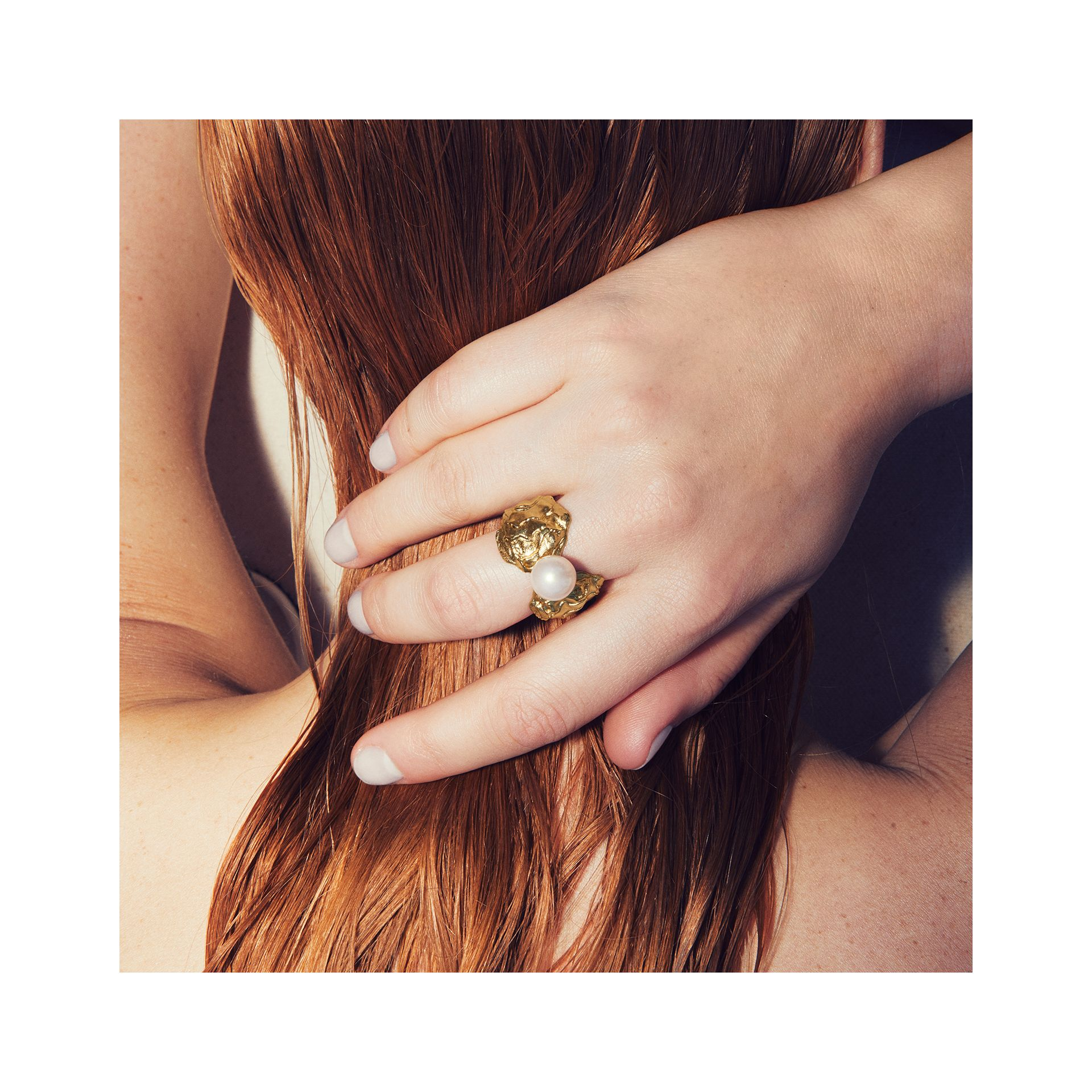 Gold-plated Resin Pearl Ring in Light Gold/pearl | Burberry Australia - gallery image 1