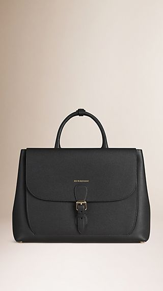The Large Saddle Bag in Grainy Leather and Bonded Suede