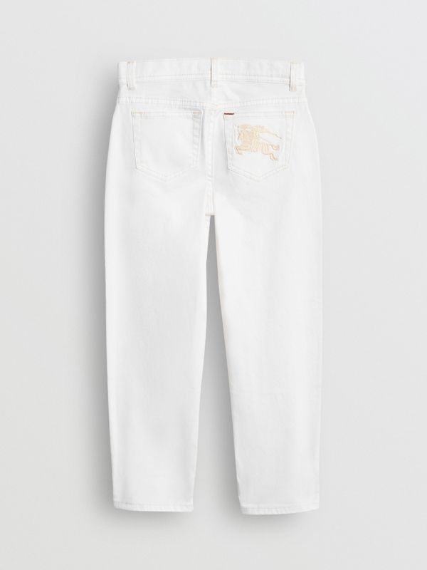 Relaxed Fit Stretch Denim Jeans in White - Girl | Burberry - cell image 3
