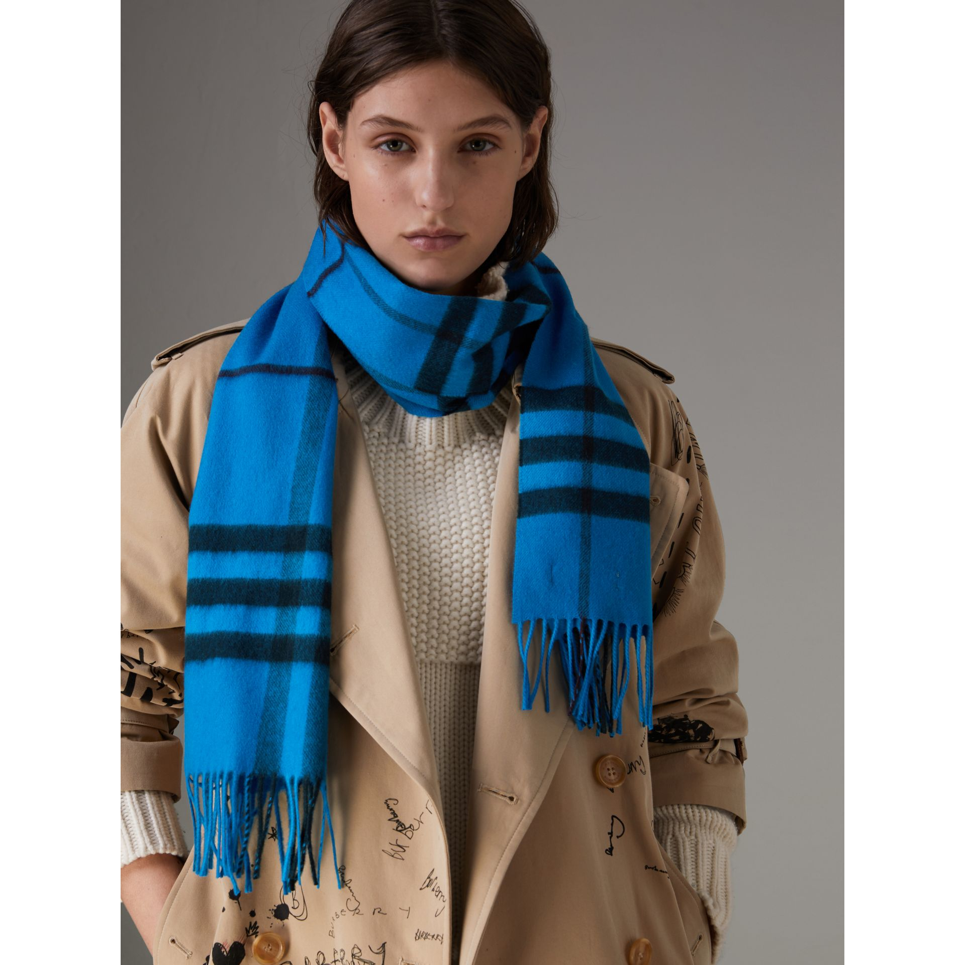 Overdyed Exploded Check Cashmere Scarf in Bright Blue | Burberry - gallery image 4