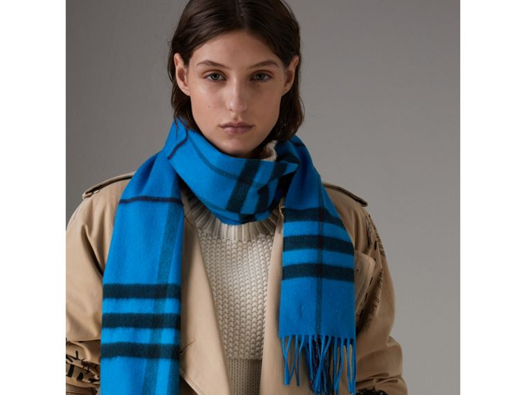 Overdyed Exploded Check Cashmere Scarf in Bright Blue | Burberry - cell image 4