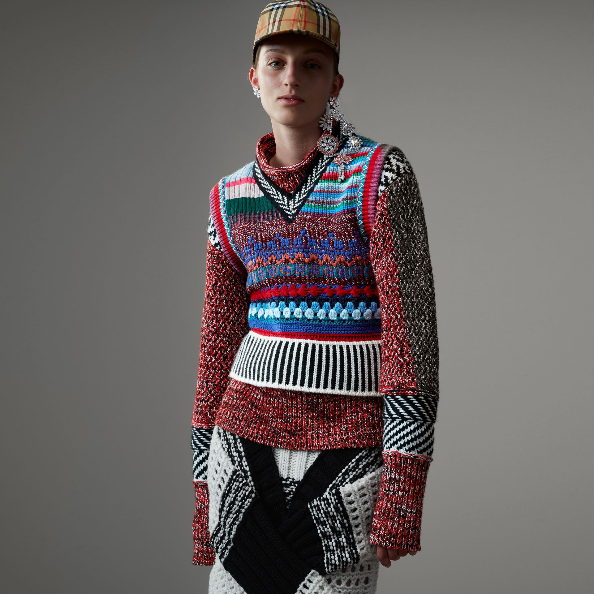 Hand-embroidered Wool Cashmere Blend Tank Top in Multicolour - Women | Burberry - gallery image 0