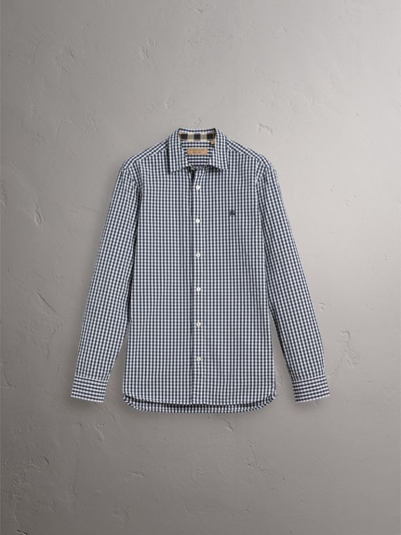 Gingham Cotton Poplin Shirt with Check Detail in Ink Blue - Men | Burberry - cell image 3