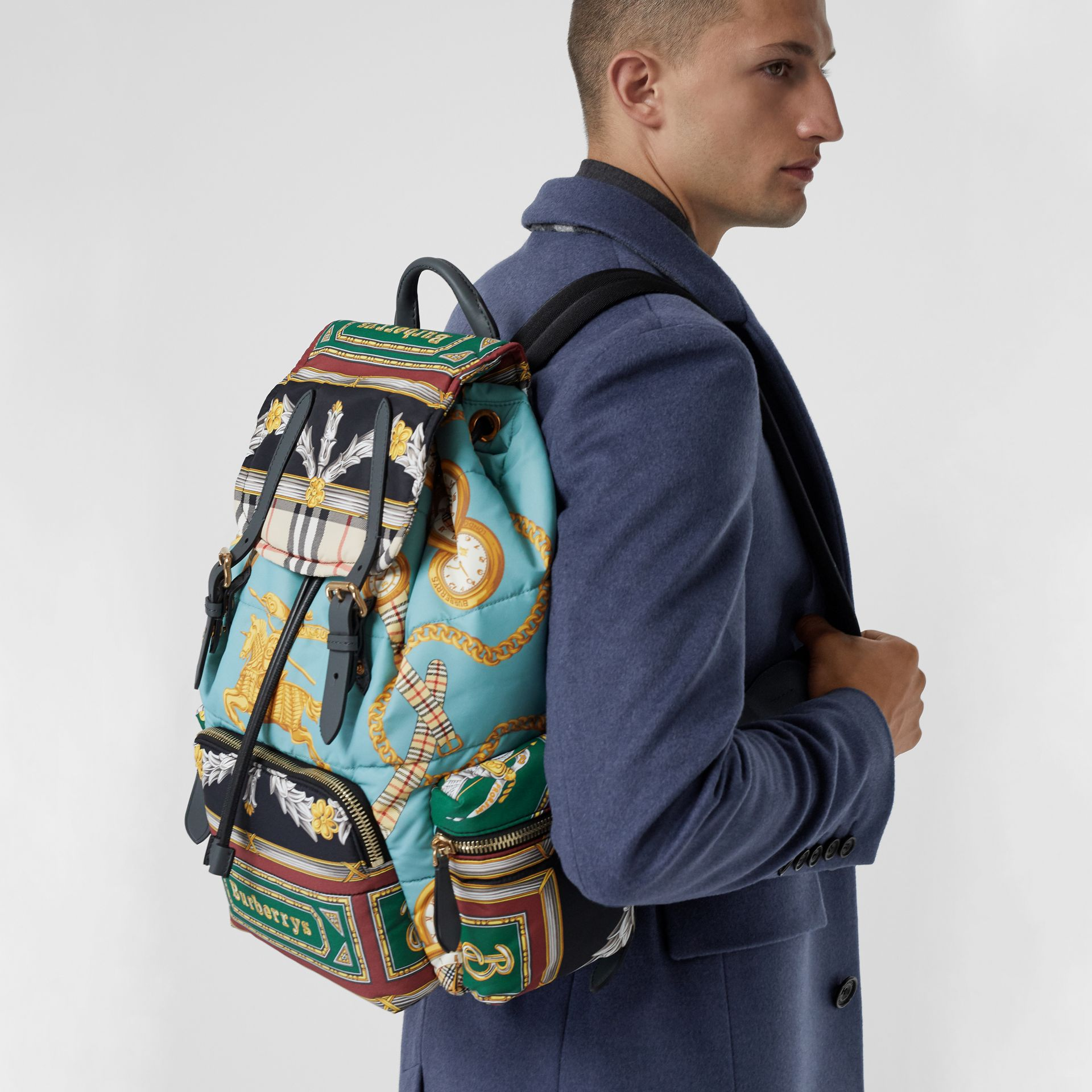 The Large Rucksack in Archive Scarf Print in Pale Stone Blue - Men | Burberry - gallery image 7