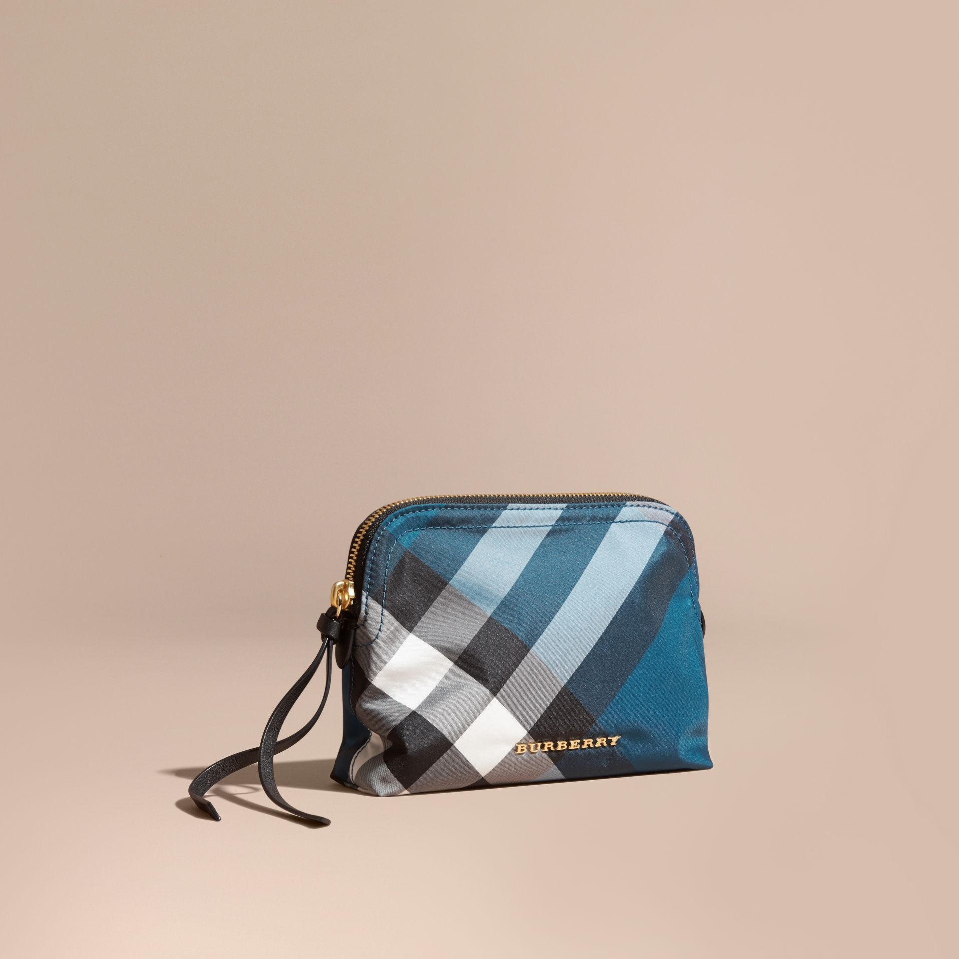 Marine blue Medium Zip-top Check Technical Pouch Marine Blue - gallery image 1