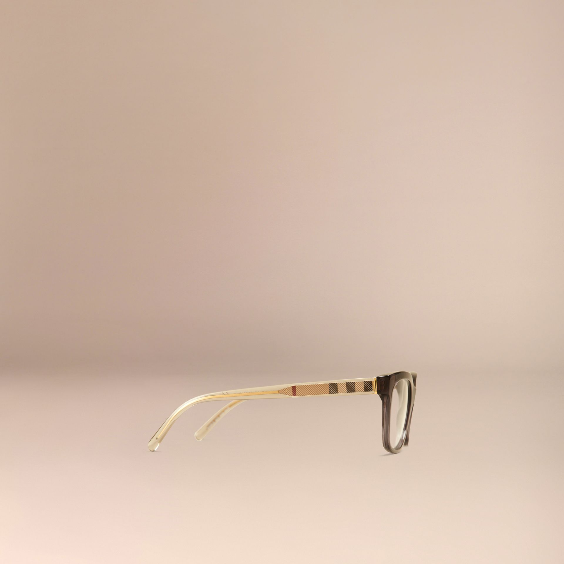 Check Detail Oval Optical Frames Dark Grey - gallery image 4