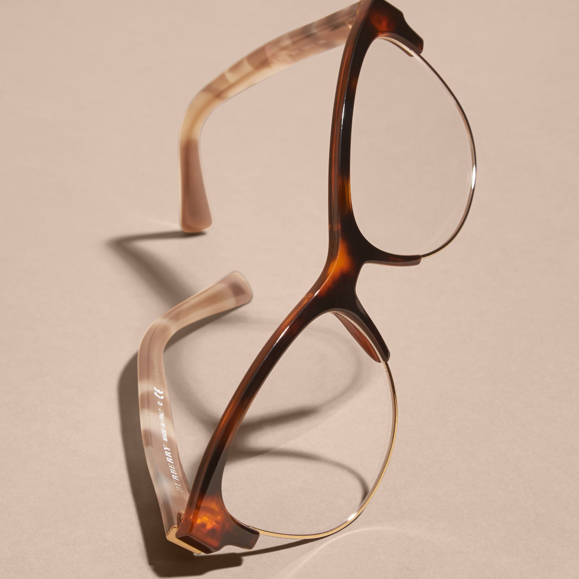 Marrone ruggine chiaro Montatura da vista cat-eye semi-rimless Marrone Ruggine Chiaro - immagine della galleria 5
