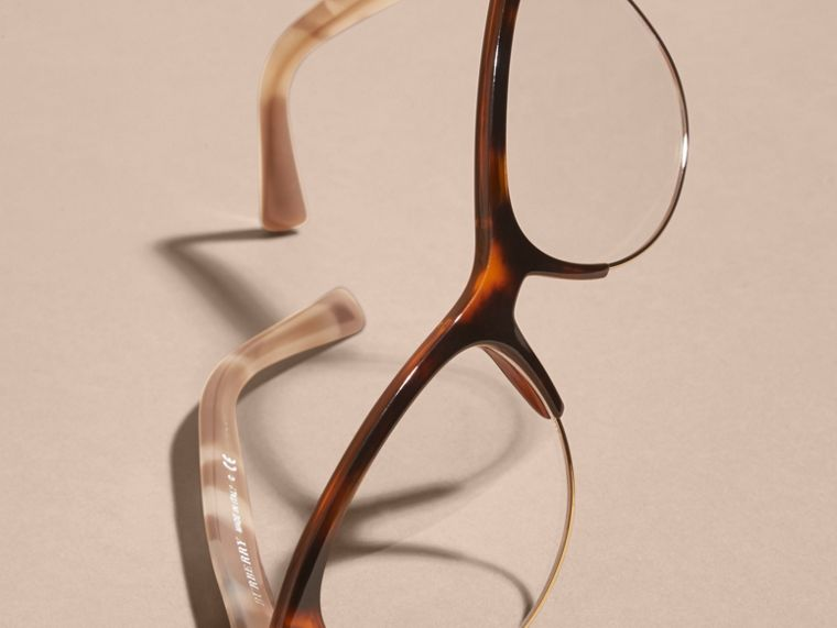 Half-rimmed Cat-eye Optical Frames Light Russet Brown - cell image 4