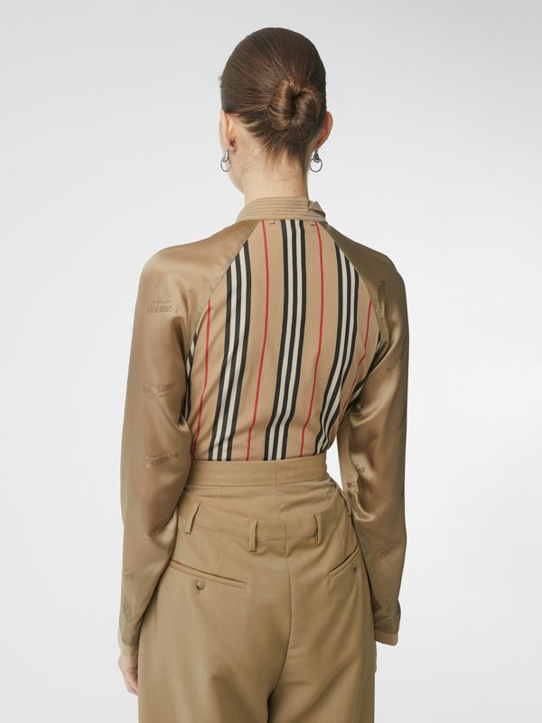 Cut-out Detail Icon Stripe Cotton Blouse in Archive Beige - Women | Burberry - cell image 2