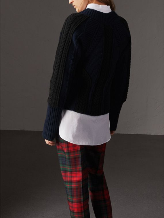 Two-tone Cable Knit Wool Cashmere Sweater in Navy - Women | Burberry United States - cell image 2