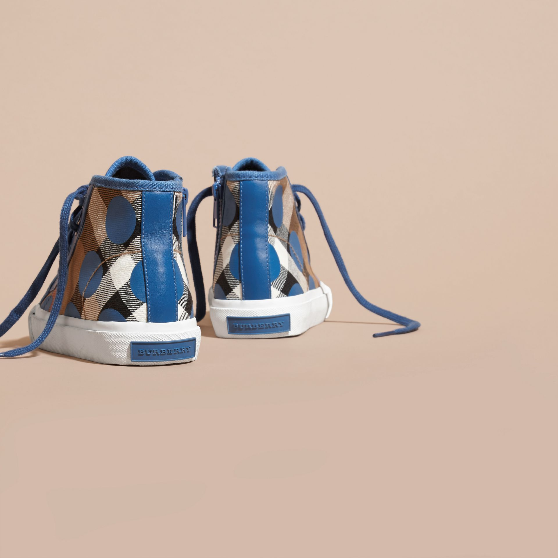 Lupin blue Leather Trim Dot Print Check High-top Trainers Lupin Blue - gallery image 4