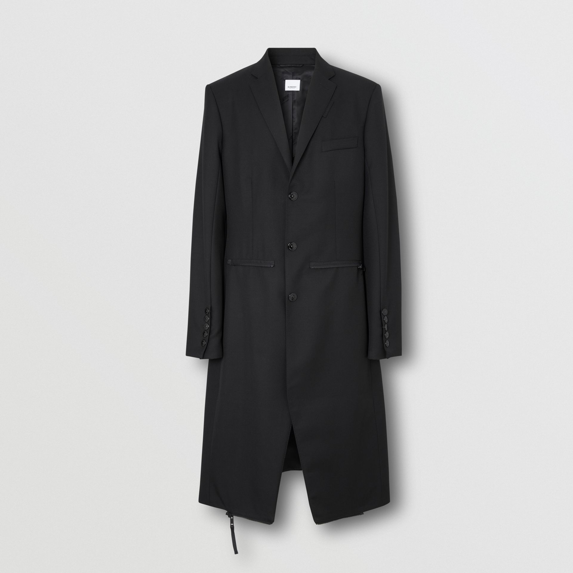 Slim Fit Zip Panel Wool Twill Blazer in Black | Burberry - gallery image 7