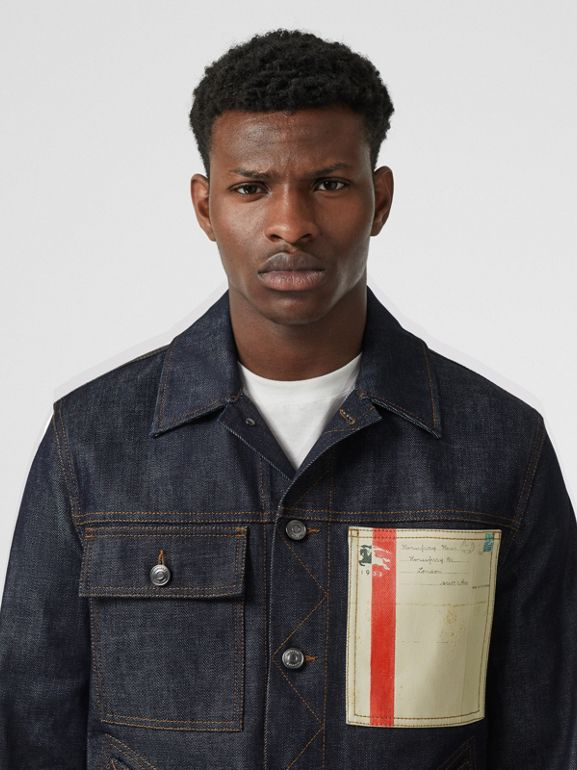 Postcard Motif Japanese Selvedge Denim Jacket in Mid Indigo - Men | Burberry - cell image 1