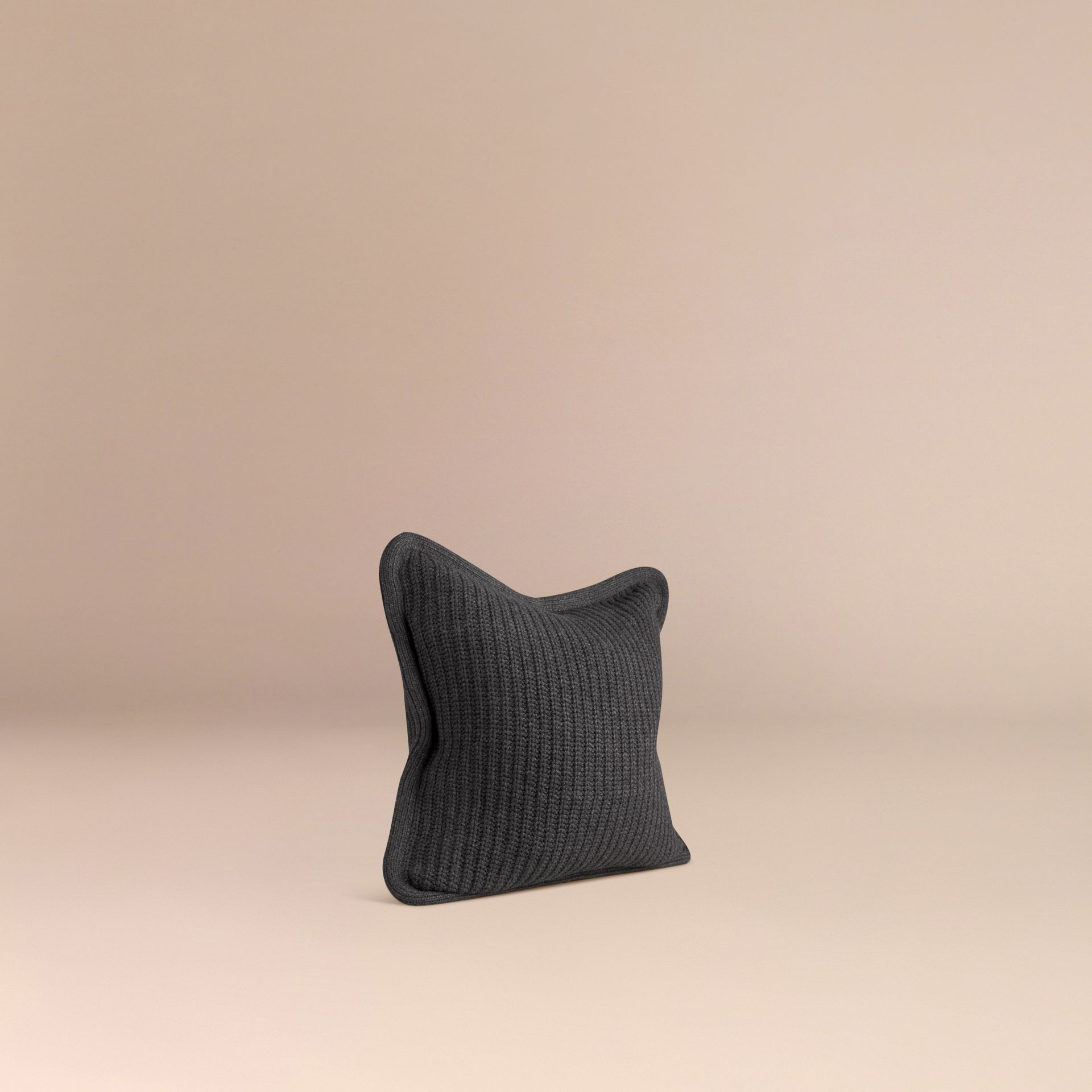 Dark grey melange Knitted Cashmere Cushion Cover Dark Grey Melange - gallery image 3