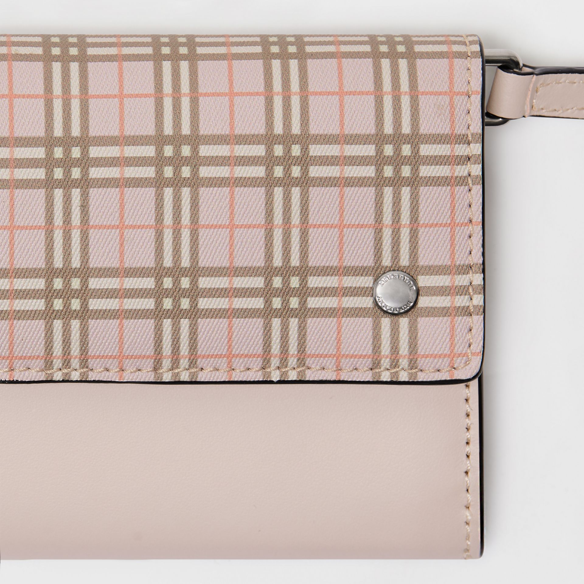 Small Scale Check Wallet with Detachable Strap in Ice Pink - Women | Burberry Canada - gallery image 1