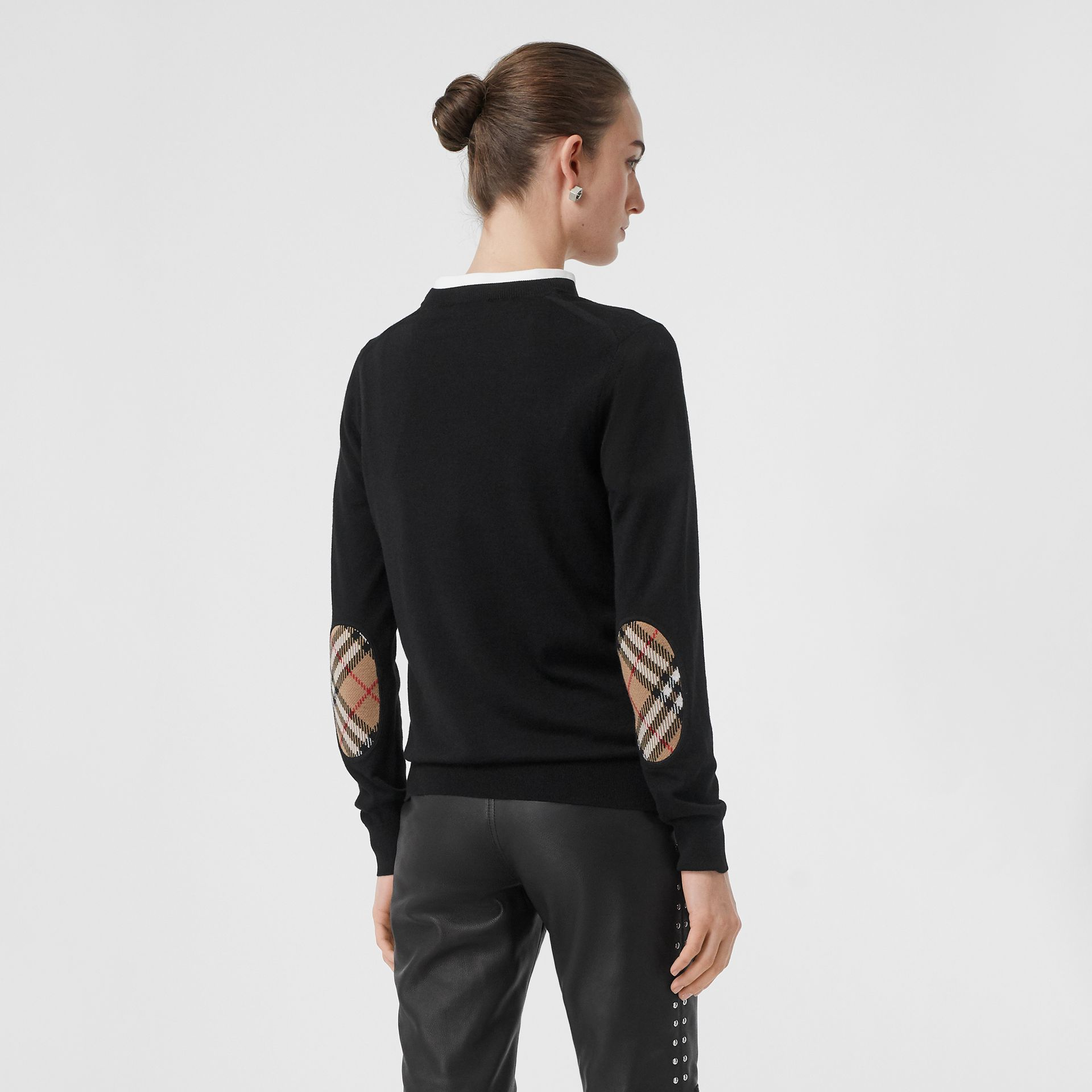 Vintage Check Detail Merino Wool Sweater in Black - Women | Burberry Singapore - gallery image 4