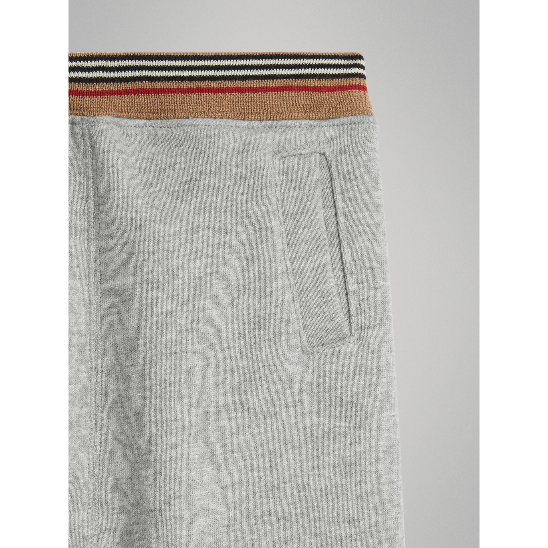 Heritage Stripe Cotton Jersey Sweatpants in Grey Melange | Burberry Canada - gallery image 4