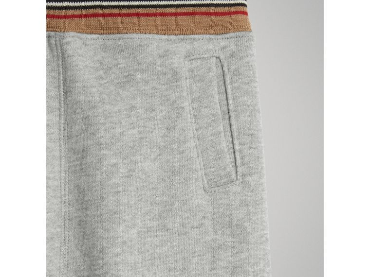Heritage Stripe Cotton Jersey Sweatpants in Grey Melange | Burberry - cell image 4