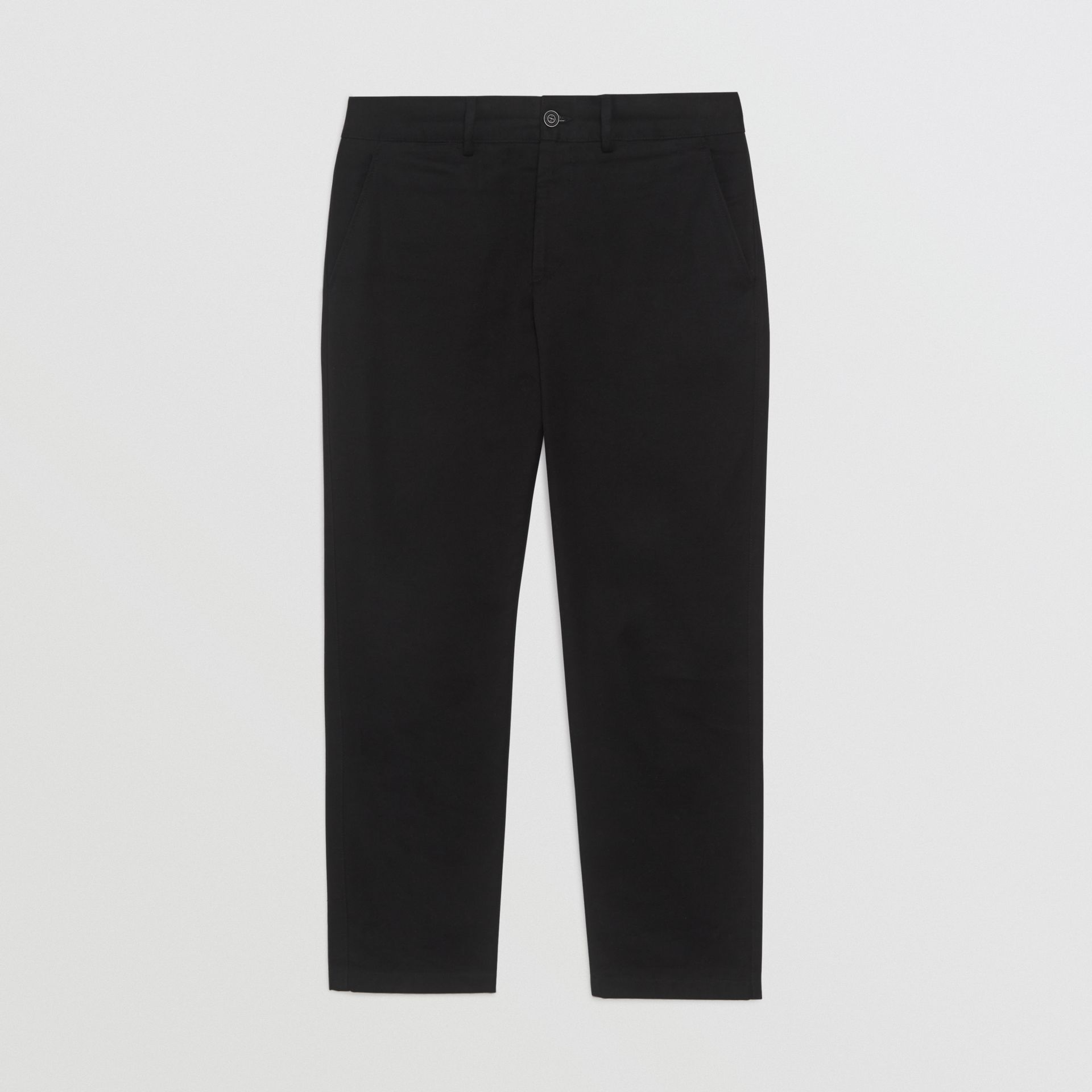 Slim Fit Cotton Blend Chinos in Black - Men | Burberry - gallery image 3