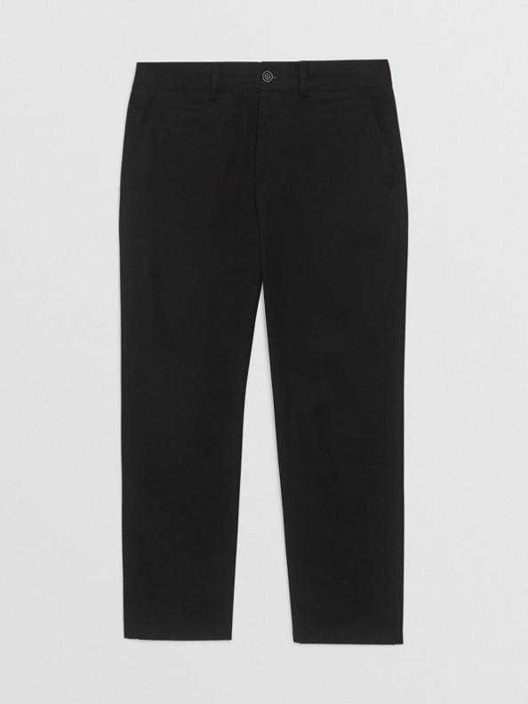 Pantalones chinos entallados en mezcla de algodón (Negro)