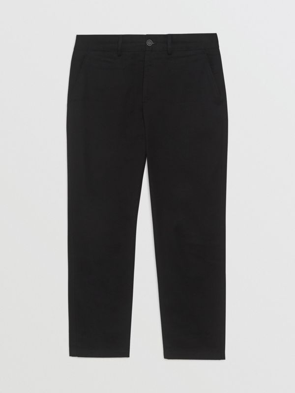 Slim Fit Cotton Blend Chinos in Black - Men | Burberry Hong Kong - cell image 3