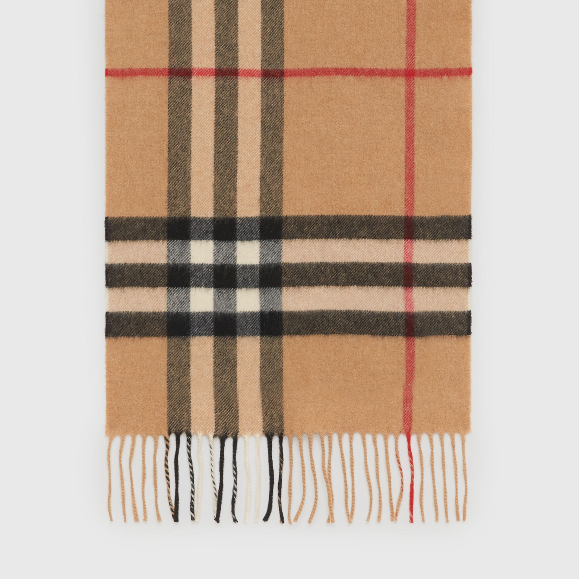 The Classic Check Cashmere Scarf in Camel | Burberry United States - gallery image 4