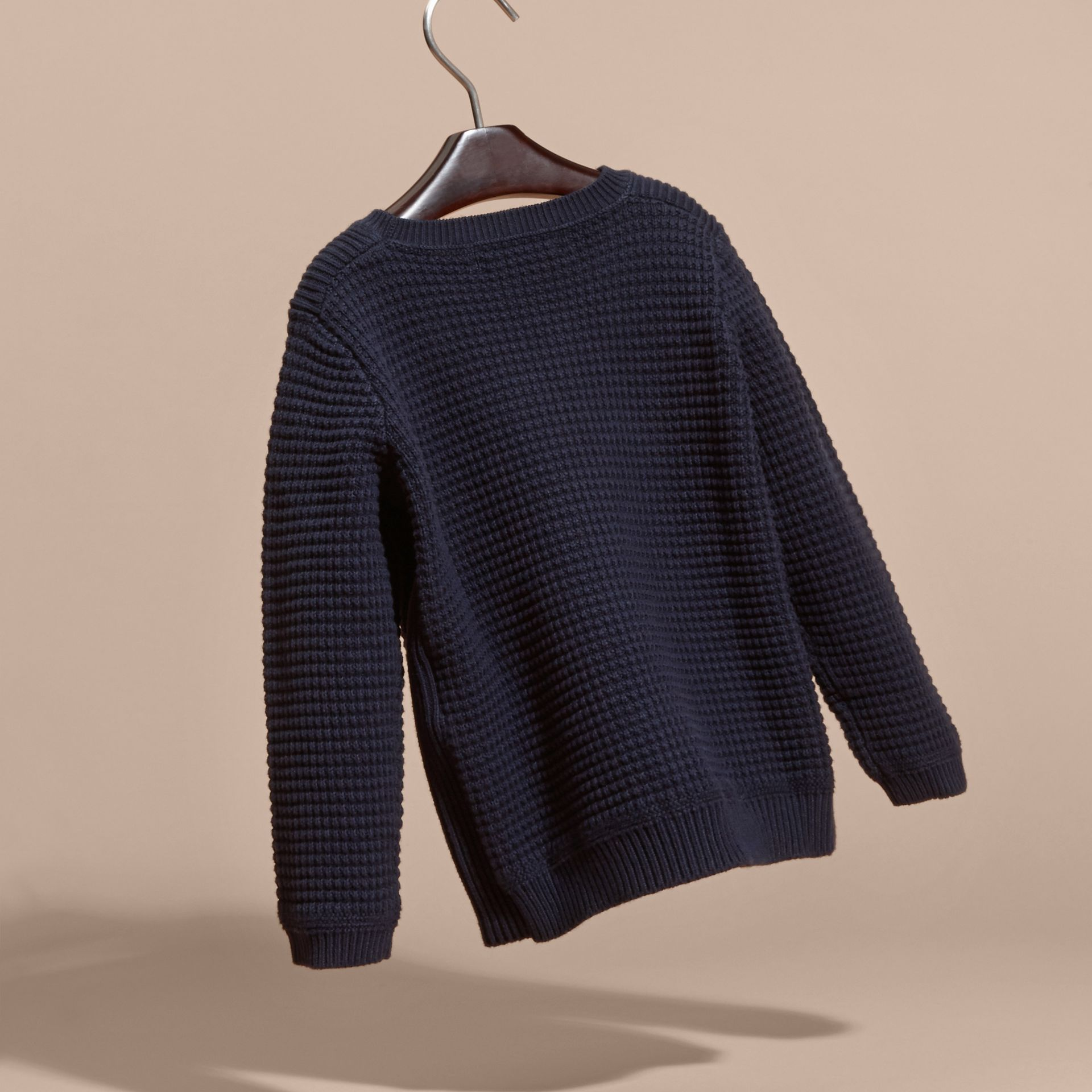 Waffle Knit Cotton Sweater Navy - gallery image 4