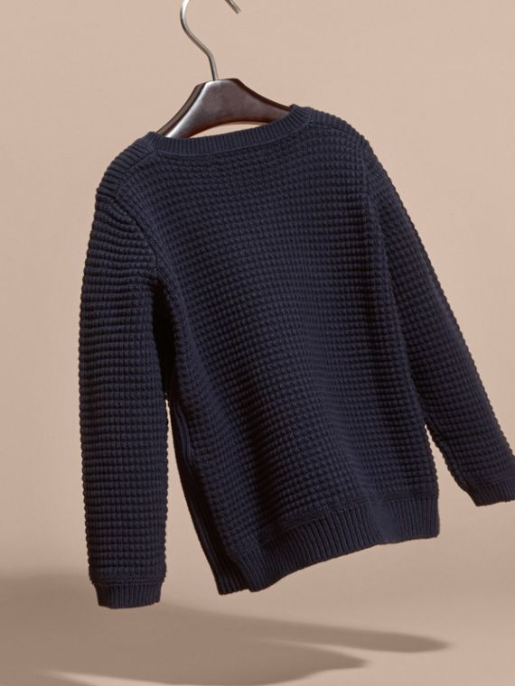 Waffle Knit Cotton Sweater Navy - cell image 3